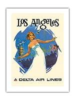 ロサンゼルス、カリフォルニア州 - デルタ航空 - ビンテージな航空会社のポスター によって作成された ダニエル・C・スウィーニー c.1970s -プレミアム290gsmジークレーアートプリント - 46cm x 61cm