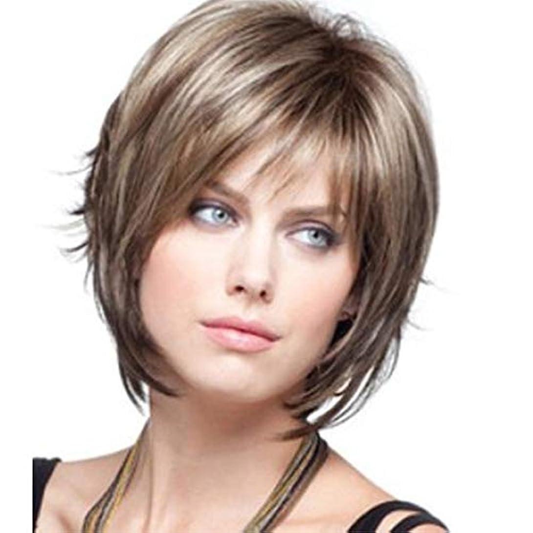 オリエント木製アンビエント女性用ブロンドショートレイヤーネイチャーヘアウィッグ前髪付き本物の人間の髪の毛のかつら女性と女の子用の合成フルヘアウィッグハロウィンコスプレパーティーウィッグ