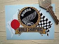 Honda World Champions Flag & Scroll Sticker ホンダ ステッカー シール デカール バイク カッティングステッカー 95mm x 65mm [並行輸入品]