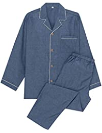 YOSO (良創)パジャマ メンズ 秋 冬 長袖 綿100 二重 ガーゼ 寝間着 前開き 上下 セット 高品質
