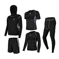 (トップスカイ) Topsky コンプレッションウェア メンズ 半袖 長袖 冬 上下 5点セット 6カラー スポーツウェア トレーニング ランニング 吸汗 速乾 (XXL, 黒&灰5点セット)
