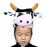 HuaQingPiJu-JP かわいい子供のパフォーマンスアクセサリー漫画動物帽子(牛)