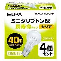 ELPA ミニクリプトン電球 40W【4個セット】 EKP100V36LW(C)4P