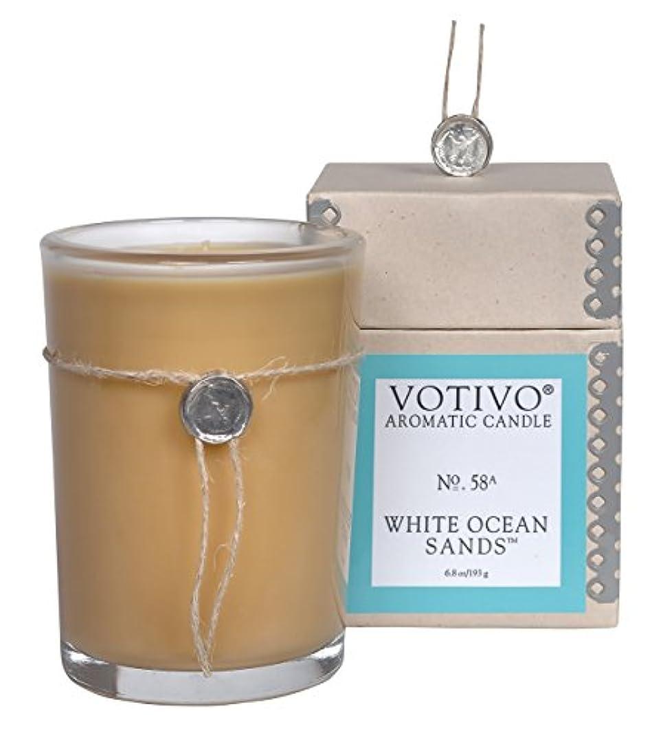 マンハッタン発掘するイライラするVOTIVO アロマティック グラスキャンドル ホワイトオーシャンサ