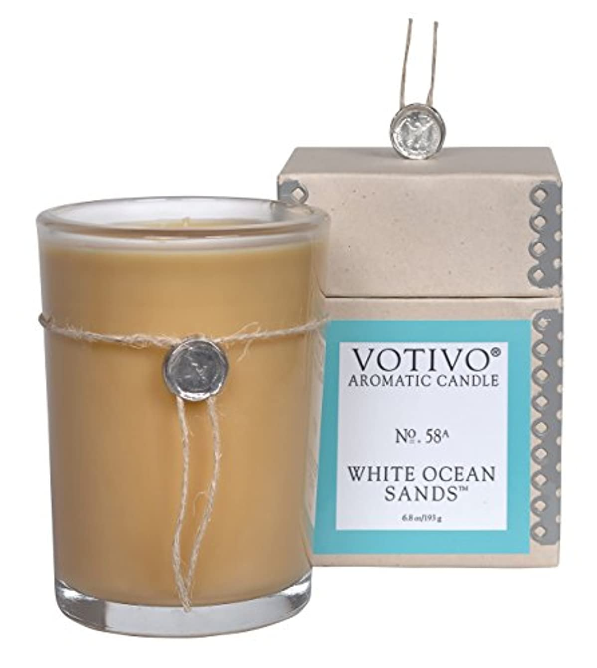 バーガー抑圧するくちばしVOTIVO アロマティック グラスキャンドル ホワイトオーシャンサ