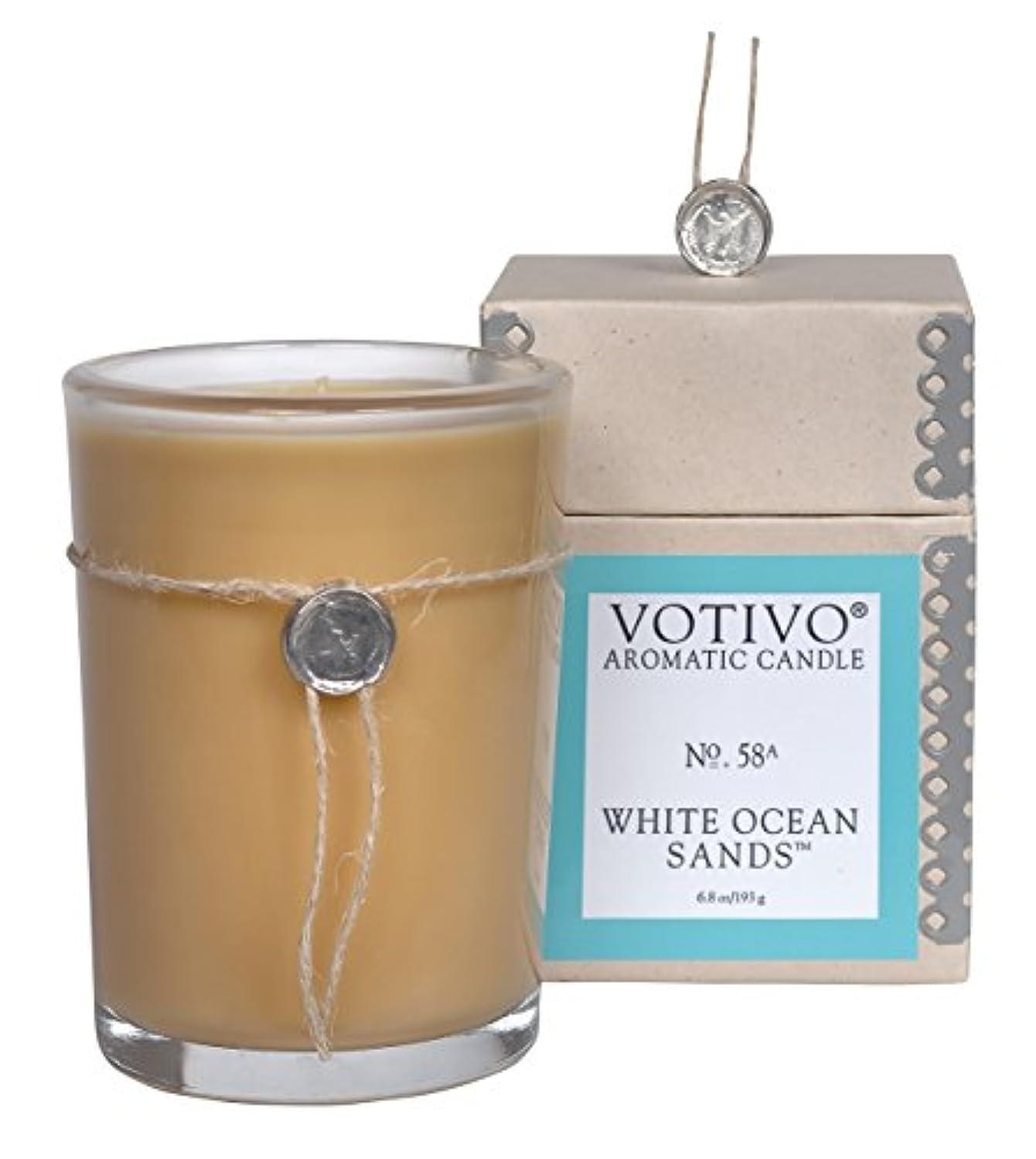 嵐の取り囲むペットVOTIVO アロマティック グラスキャンドル ホワイトオーシャンサ