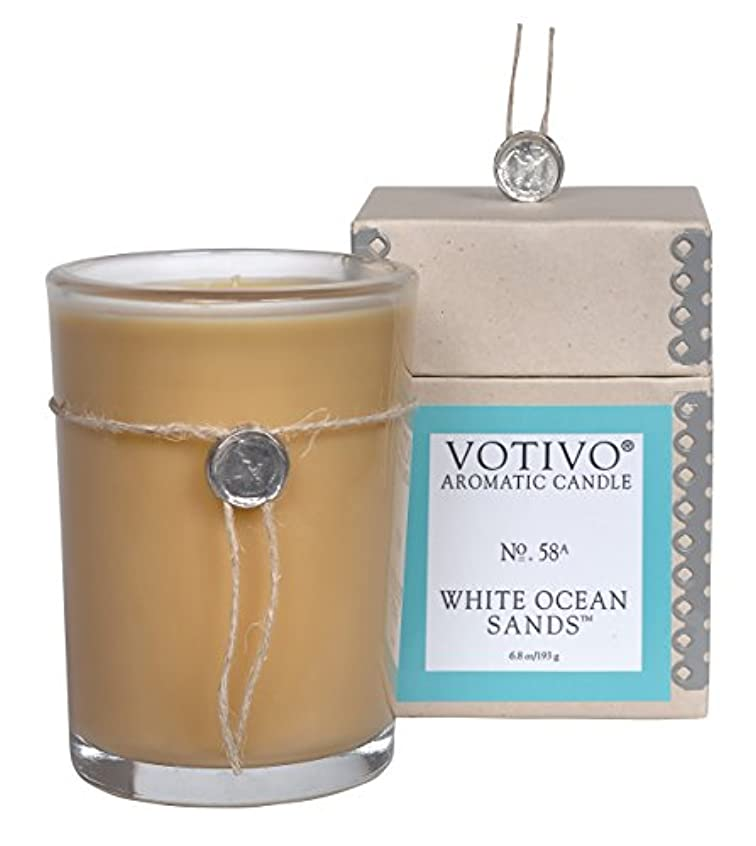 ライナー飽和するネーピアVOTIVO アロマティック グラスキャンドル ホワイトオーシャンサ