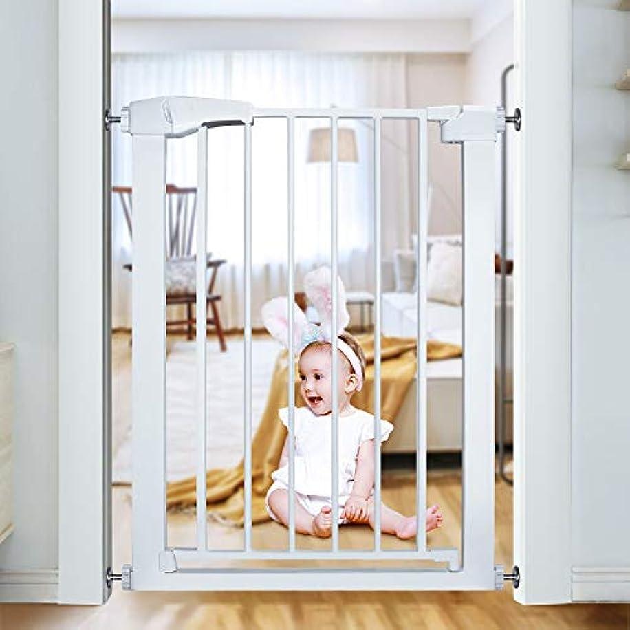 ショッキングに負ける滑るベビーゲート ペットゲート 突っ張りゲート 赤ちゃんガード柵 ペット柵 扉開閉式 ホワイト 63~70cm(拡張フレームなし)