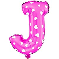 uxcell 風船 フォイル レター J ハートパターン 誕生日 結婚式 装飾 フクシア