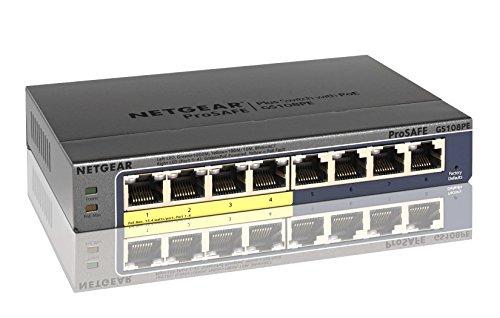 NETGEAR スイッチングハブ ギガビット8ポート(PoE4ポート15.4W/全体53W)/VLAN QoS IGMP/外部電源/ファンレス静音/オフィス/無償永久保証 GS108PE-300AJS