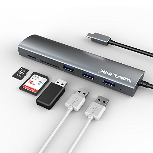 Wavlink USB C 3.1ハブ Super Speed Micro SD/SDカードリーダー(SD/Micro SDスロット対応付き多機能用3ポートUSB C HUB MacBook Air/Surface Windows XP Vista 7 8 8.1 10 Mac OS Linux 対応 (USB C-SD/Micro SD)