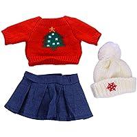 SONONIA  レッド  セーター  トップ  ブルー スカート  & 帽子 セット  18インチアメリカンガールドール用