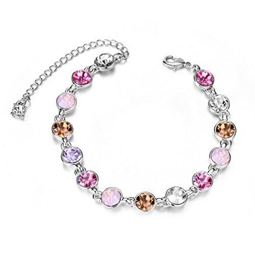 [해외]Sweetiee 반짝 블루 스와 로브 스키 크리스탈 팔찌 팔찌 플래티넘 160mm 친구 애인에게 패션 비쥬 여성 보석/Sweetiee Glitter Blue Swarovski Crystal Bracelet Bangle Platinum 160mm To Friends Lovers Fashion Bijou Women`s Jewelry