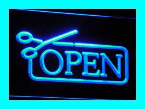 LED看板 ネオンプレート サイン 電飾・店舗看板・標識・サイン カフェ バー ADV PRO i030-b OPEN Scissors Haircut Displays Neon Light Signs