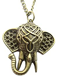 Elephantネックレス、象ヘッドネックレス、ブロンズ象ネックレス、動物ネックレス