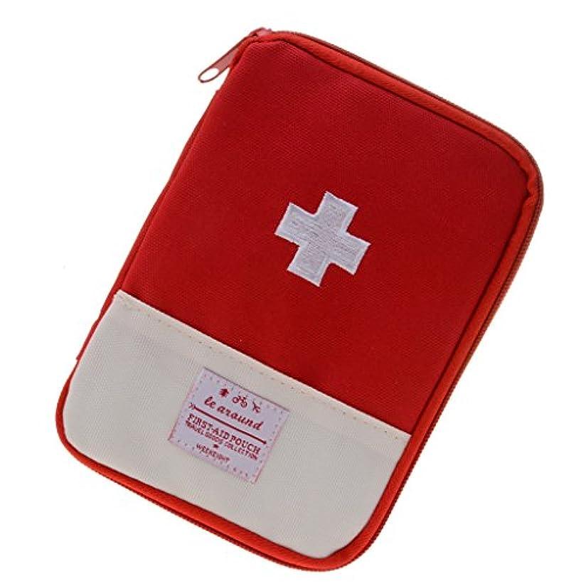 強度プラットフォーム驚かす【ノーブランド品】キャンプ 旅行 救急袋 緊急 サバイバル キット 医療 ポーチ 2色2サイズ選べる - 赤, L