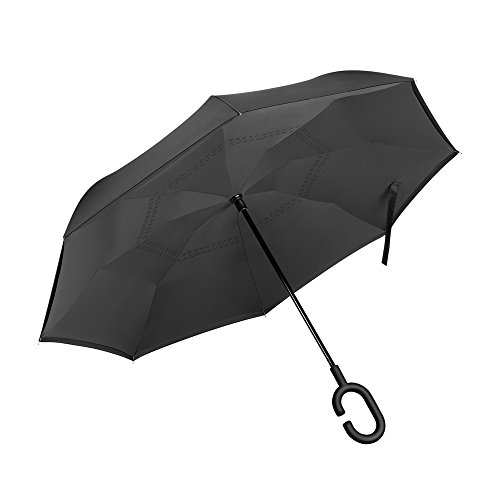 PLEMO 長傘 逆さ傘 逆折り式傘 手離れC型手元 耐風傘 撥水加工 ビジネス用車用 クラシックブラック (124センチ)