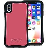 WAYLLY(ウェイリー) iPhone X ケース iPhone XS ケース アイフォンXケース アイフォンXSケース くっつくケース 着せ替え 耐衝撃 米軍MIL規格 [スモールロゴ ピーチピンク] MK