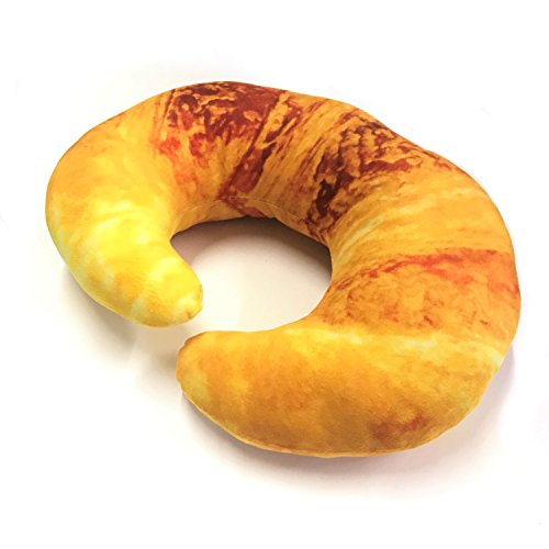 sac taske (サク タスケ) リアル 首枕 おもしろ ネックピロー 3D 座椅子 クッション お昼寝 (ふわふわ クロワッサン)
