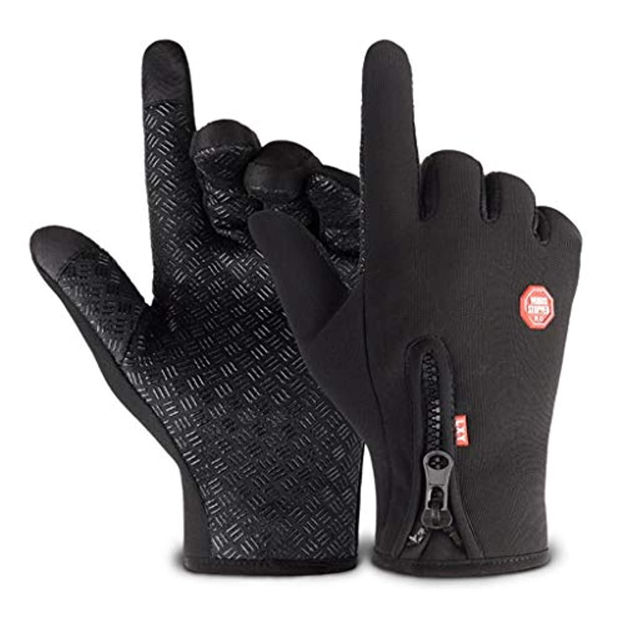 無一文コテージナイロン手袋男性の秋と冬の自転車電動バイクの女性のタッチスクリーン全天候防風ノンスリップ暖かいコールドプラスベルベット弾性手袋ワンサイズ黒