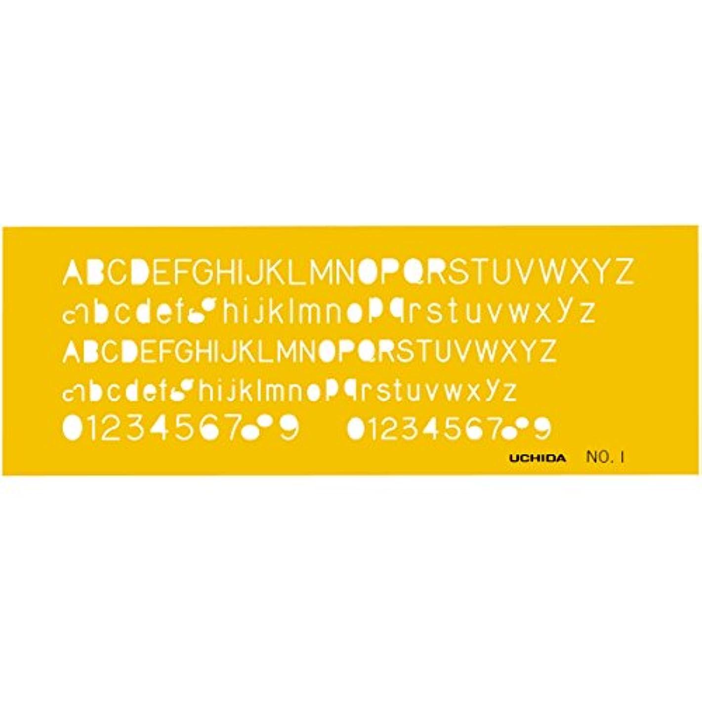 踏み台電気陽性司法ウチダ テンプレート No.1 英字数字定規 1-843-1001