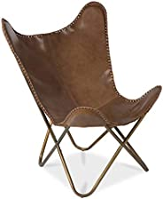 Boho Traders Leather Butterfly Chair with Antique Brass Frame, Brown