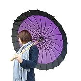 24本骨傘 蛇の目風 和傘 紫 【かさ・カサ・傘】