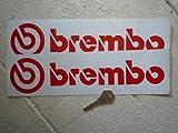 Brembo Red & White Oblong Stickers ブレンボ ステッカー デカール シール 海外限定 295mm x 80mm 2枚セット [並行輸入品]
