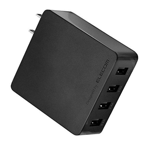 エレコム 充電器 ACアダプター 【iPhone&iPad&Android&IQOS対応】折畳式プラグ USBポート×4 (4A出力) 10年使える長寿命設計 ブラック EC-AC4U001BK