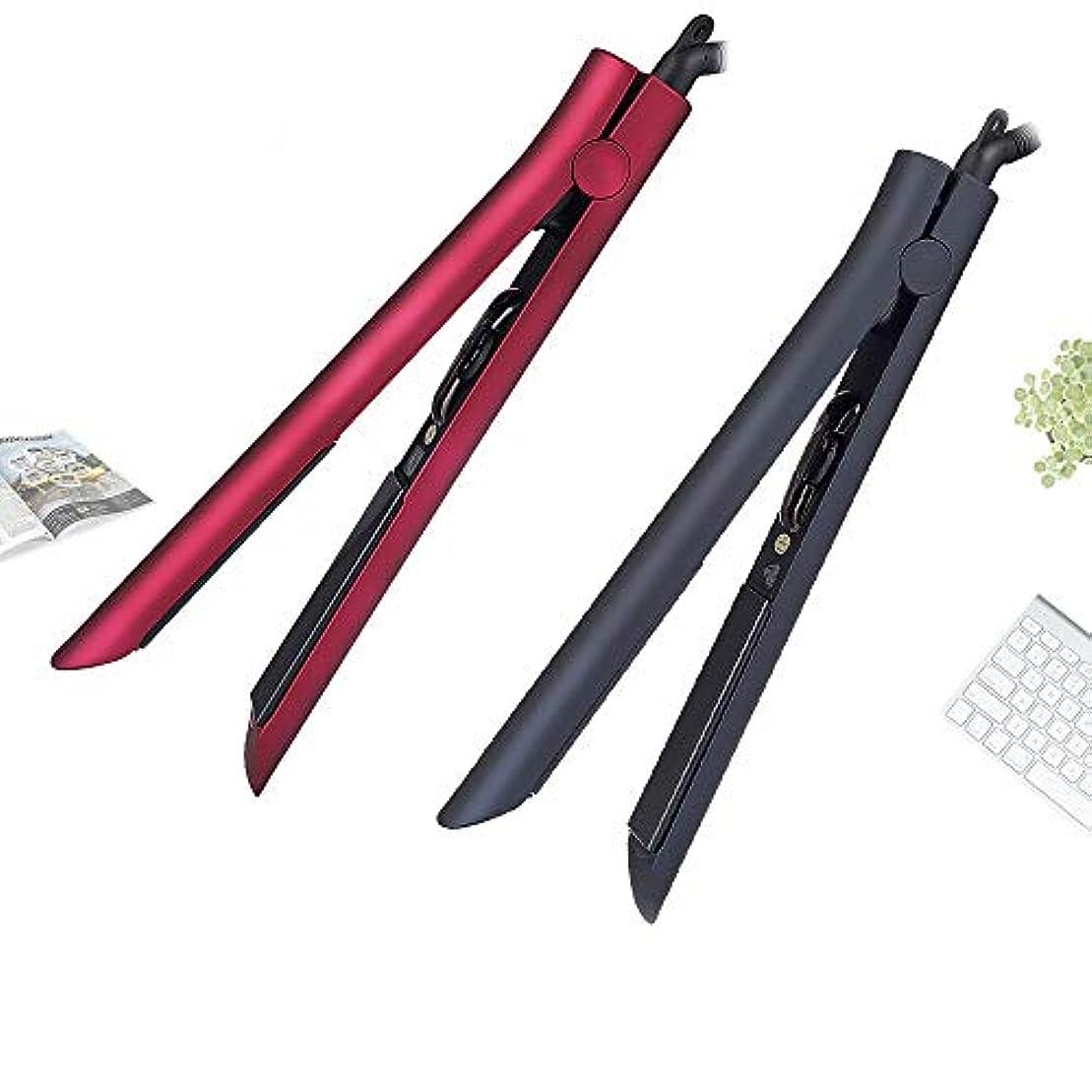 芸術的圧縮する弱い1つに付き2つのカーリングアイロンおよび毛のストレートナ、温度調整の専門の毛のストレートナ、PTCの陶磁器のヘアカーラー モデリングツール (色 : 黒)