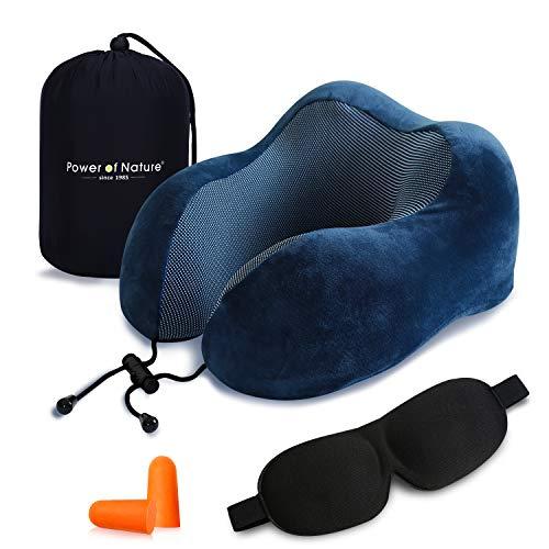 ネックピロー U型 首枕 頚椎肩こり改善 飛行機 車 旅行用 トラベル枕 携帯枕 収納袋付 (ダークブルー )