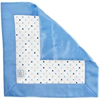 SwaddleDesigns Cotton Muslin Baby Lovie, Small Security Blanket, Tiny Triangles with Satin Trim, Blue [並行輸入品]