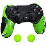 PS4 コントローラー用シリコン スキン ケース 厚プラス 保護 ハーフカバー x 1(迷彩グリーン) + ティック カバー x 2