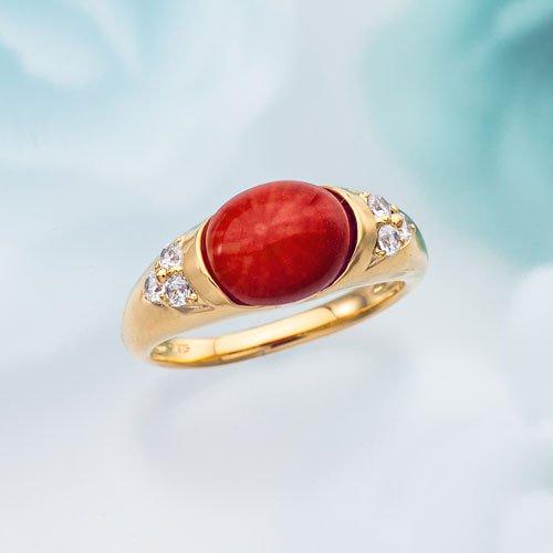 赤色珊瑚リング シルバー925 指輪 11号