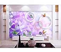 壁画壁紙3Dルーム写真壁紙壁画紫花蝶装飾画3Dリビングルーム壁画壁紙壁3D