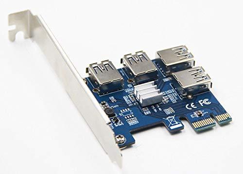 FidgetGear ビットコイン用PCI-E 1X〜4ポートPCI-E 16XスロットライザーコンバータアダプタUSBカード