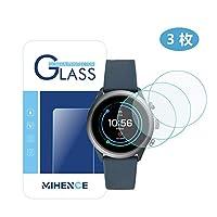 【 3枚】 MIHENCE for Fossil Sport (43mm) 保護フィルム ,9Hガラス保護フィルム 対応 Fossil Sport (43mm) ガラスフィルム 腕時計 2.5D 強化ガラス 液晶保護フィルム プロテクター