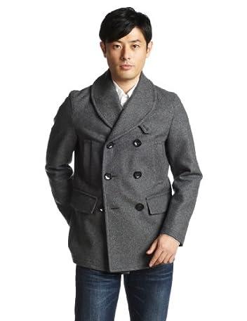 Shawl Collar Pea Coat 51-19-0041-565: Grey
