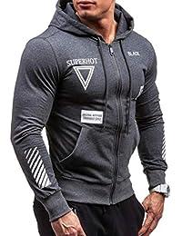 Fly Year-JP メンズファッションアスレチックフルジップフーディ軽量スポーツスウェットシャツ