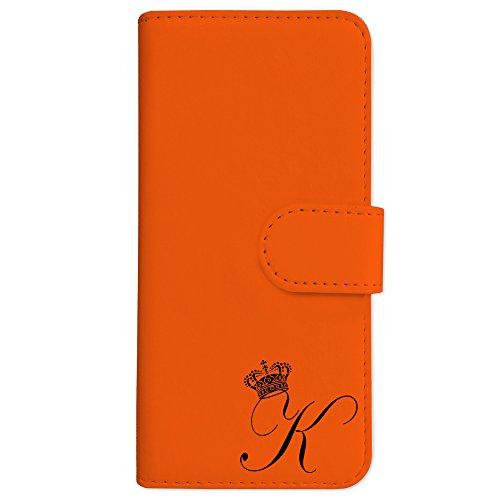 sslink SO-03J/SOV35/602SO Xperia XZs エクスペリア 手帳型 スマホ ケース クラウン イニシャル 「K」 黒文字 (オレンジ) アルファベット ロゴ エンブレム ダイアリータイプ 横開き カード収納 フリップ スマートフォン カバー