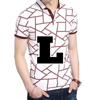 ( Make 2 Be ) メンズ ポロシャツ柄 半袖 カジュアル シャツ ゴルフ ウェア MF46 (11.Red_L)