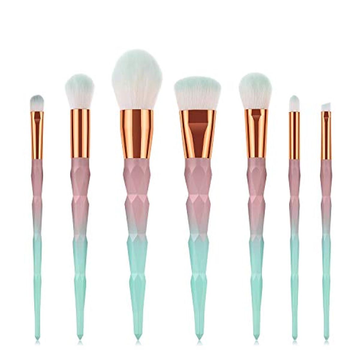Makeup brushes 7ピースグラデーションブラシセットメイクブラシセット形成ハンドルファンデーションブラッシュアイシャドウリップブラシフェイシャルメイクアップツール suits (Color : Gradient...