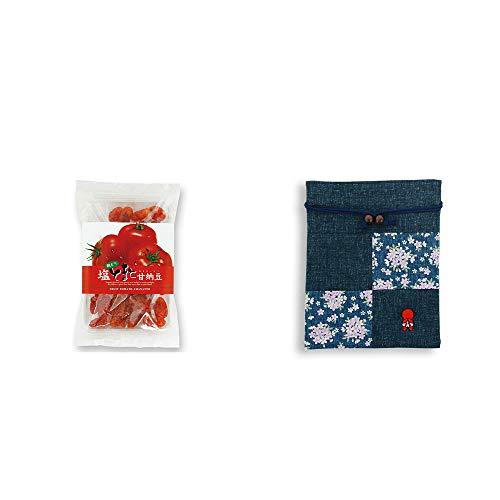 [2点セット] 朝どり 塩とまと甘納豆(150g)・おねがいさるぼぼ 巾着【紺】