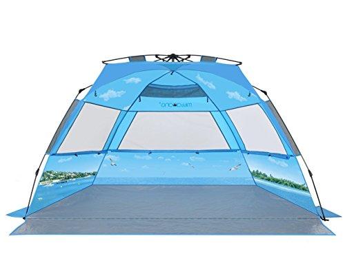 mittaGonG ビーチテント サンシェードテント ワンタッチ 3~4人用 242×135cm 10秒設営 日除け ブルー