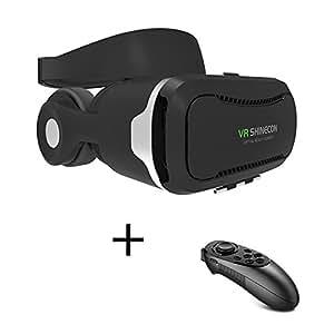 VR SHINECON 4代目ゴーグル+リモコン 最新型 VR ゴーグル VRヘッドセット 3Dメガネ VR BOX 4.5-6インチのスマホに適用 3D IMAXバーチャルリアリティヘッドセット内蔵ヘッドフォン イヤホン実装音量調整・動画一時停止 取り外しヘッドバンド付き レンズ距離と焦点距離調整可能 (リモコン+4代目ゴーグル)