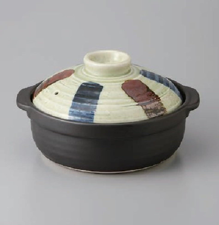 石目二色刷毛十草 土鍋 9号 3-4人用 深鍋 鍋 直火可 美濃焼