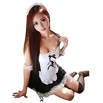 (アクアランド) AQUALAND 大胆ホルターネックメイドコスチューム フルセット メイド服