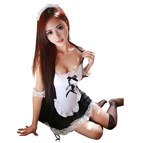 (アクアランド) AQUALAND コスプレ メイド コスチューム フルセット 制服 メイド服 小悪魔 催し物 大胆ホルターネック セクシーなガーター付き ラブリーレース