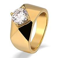 Aooaz メンズリング ステンレス スムース プリズム 爪 CZ 婚約指輪 リング ゴールド サイズ 14