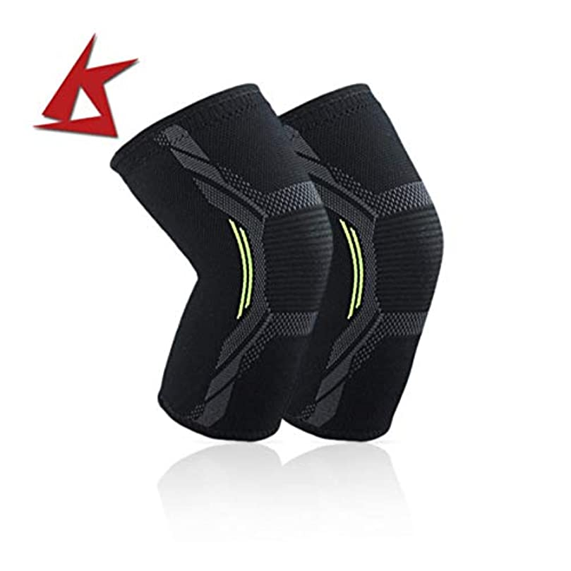 お金調子真空ニット膝パッド耐久性のあるナイロン膝ブレーススポーツ保護パッド超薄型膝サポート安全膝パッド - ブラックL